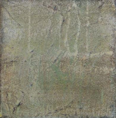 No.1 Gesteinsmehle, Papiere, Pigmente, Wachs auf Leinwand 20 x 20 cm