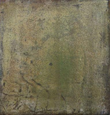 No.3 Gesteinsmehle, Papiere, Pigmente, Wachs auf Leinwand 20 x 20 cm
