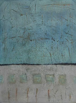 No. 3 Papier, Gesteinsmehle, Pigmente auf Leinwand, 60x80