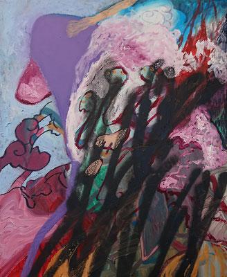 Untitled (monkey) 61x50cm, mixed media on canvas, 2018
