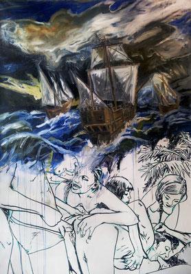 Galleon, mixed media on canvas, 200x140cm, 2014