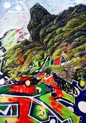Terraformer, 200x140cm, mixed media on canvas, 2017
