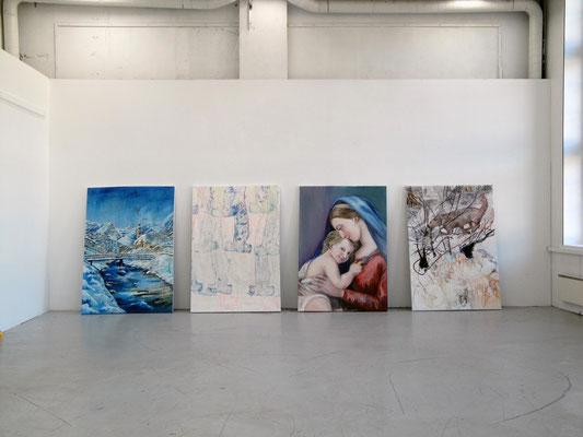 Manuel Portioli, Rise and fall of a living human, 2013, tecnica mista su tela, 199x139 ognuna