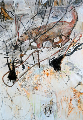 Rise and fall of a living human, mixed media on canvas, 200x140cm, 2013