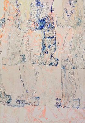 Manuel Portioli, Rise and fall of a living human-chapter 2, 2013, tecnica mista su tela, 199x139