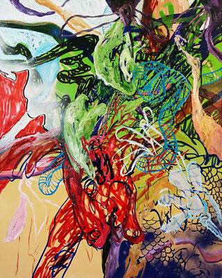 The bull, 100x80cm, mixed media on canvas,  2017