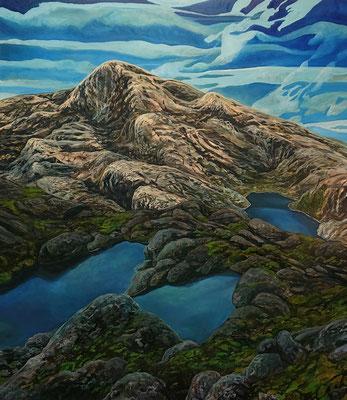Steinkast 06, 150x130cm, mixed media on canvas 2018