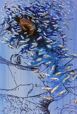 Fish, 52,5x35,5cm, mixed media on canvas, 2014
