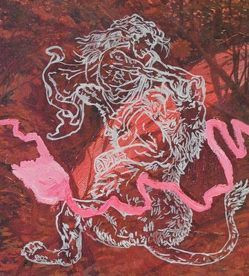 Samson, 37x41cm, mixed media on canvas, 2014
