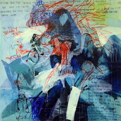 Holy Family, 200x200 cm, mixed media on canvas, 2013