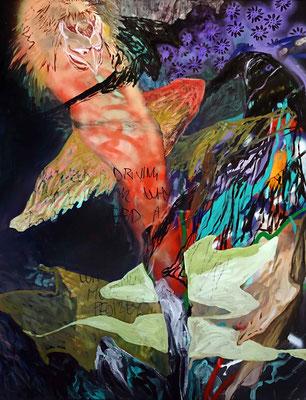 Tengu, 170x130cm, mixed media on canvas, 2017