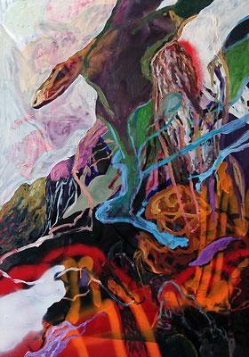Eagle's nest, 100x70cm, mixed media on canvas,  2017