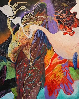 The Phoenix, 100x80cm, mixed media on canvas, 2017