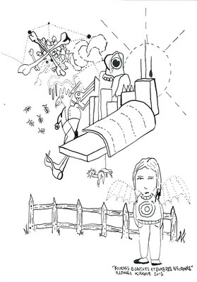 """Fourmis Blanches Et Sombres Neurones<BR><FONT size=""""1"""">29,7 x 21cm R.K. 2012</FONT><BR>"""