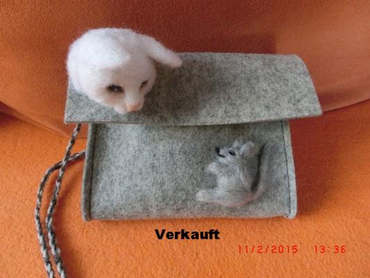 Tasche - Applikation Katz und Maus