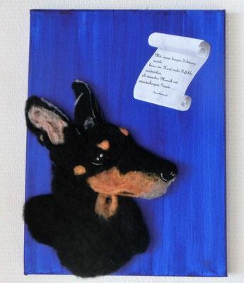 Bild: Terrier nach Foto mit Spruch