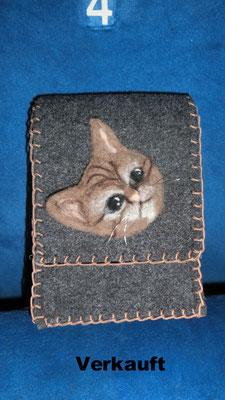 Tasche - Applikation Katzenkopf