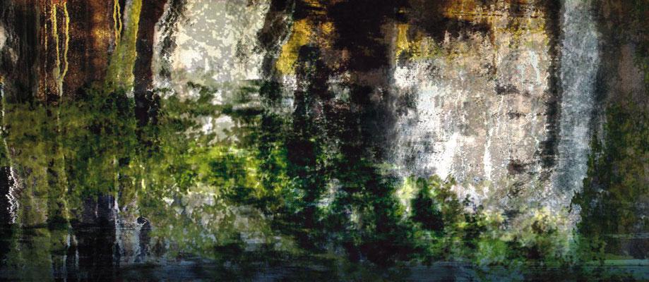 Mangue Nr. 1 | Fotomontage digital hinter Acrylglas | handmattierte schwarze Acrylbox | 62 x 27 cm | Unikat | Kassel | DE | Privatbesitz