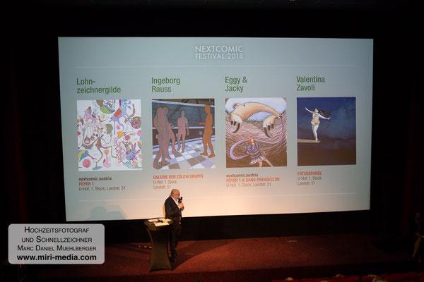 Eröffnung im Moviemento, moderiert von NEXTCOMIC-Erfinder Gottfried Gusenbauer