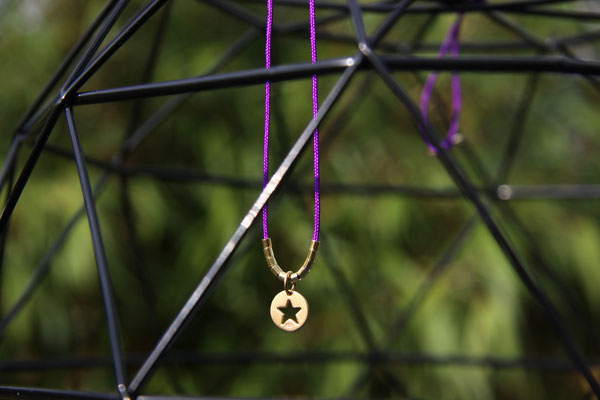 'RIO' STAR Gold an lila Kunstseide, alle Metallteile 925 Sterling vergoldet