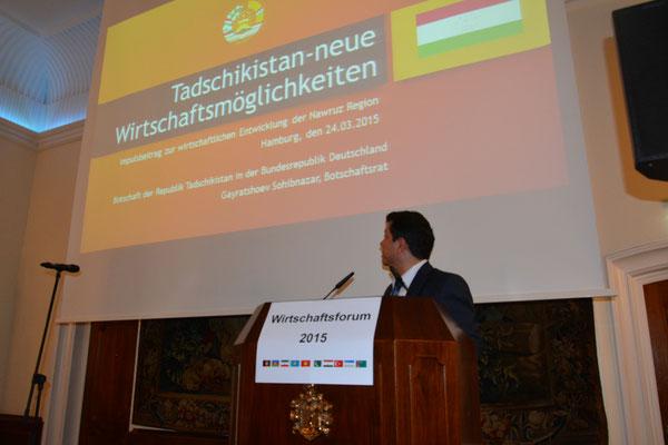 Vorstellung der wirtschaftlichen Entwicklung und Investitionsbedarfe Tadschikistans durch Botschaftsrat Sohibnazar Gayratsho, seit 5.11.2018 außerordentlicher Botschafter der Republik Tadschikistan in Berlin