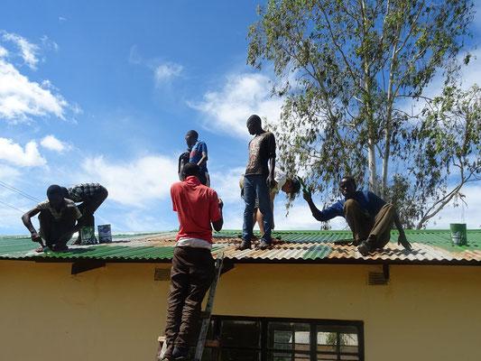 Streichen auf dem Dach