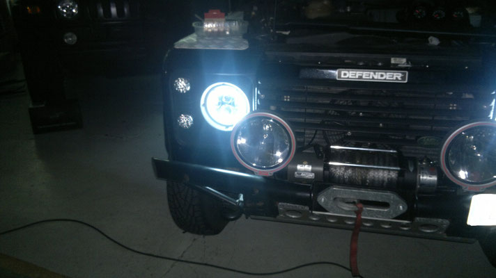 DEFENDER 90 monta Coppia Fari FULL LED Mod. TKLFAR-40-ORANGE - Angel Eyes Bianco Puro