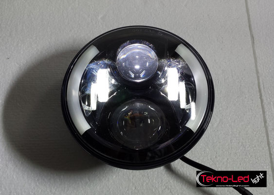 COPPIA FARI COMPLETI A LED CON ANGEL EYES - (3300LUMEN)   Mod. TKL FAR-60-WHITE