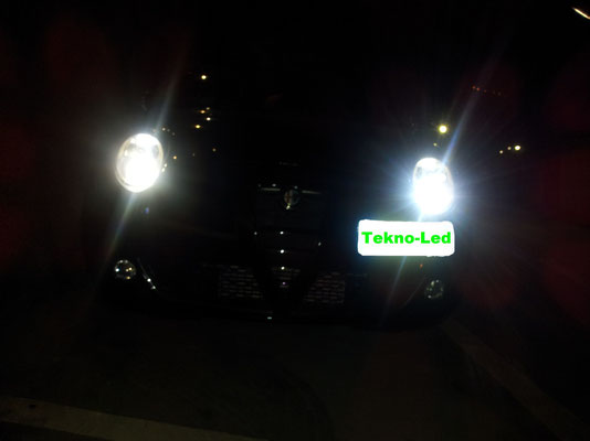 Alfa MITO monta 2 Kit LED mod. TKL9-H7 + 1 Kit LED mod. TKL5B-H1 - Luci Anabbaglianti