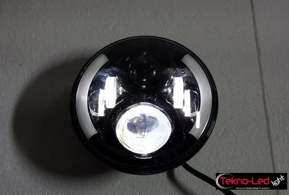 COPPIA FARI COMPLETI A LED CON ANGEL EYES - (3300LUMEN)   Mod. TKL FAR-60-WHITE