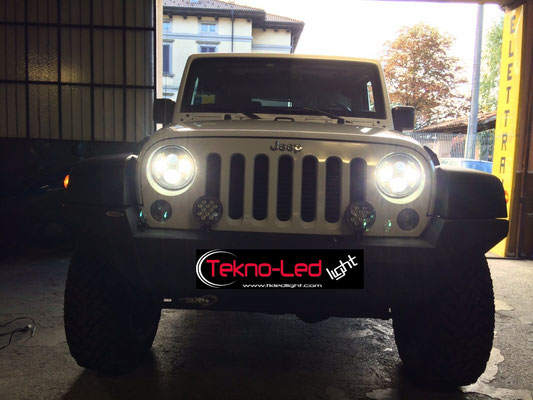 JEEP WRANGLER monta Coppia Fari FULL LED Mod. TKLFAR-60-WHITE