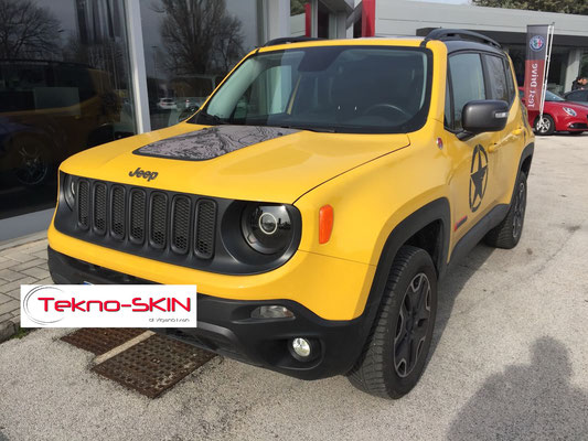 JEEP RENEGADE modifica FARI ALOGENI con: - LENTE BIXENO 35W - 5000k - LED ANGEL EYES NORMALE - COLORAZIONE NERO OPACO - FULL BLACK