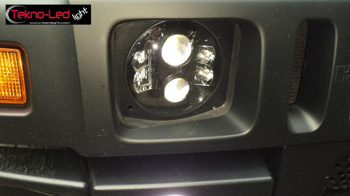HUMMER H2 monta: Coppia Fari Principali FULL LED Mod. TKLFAR-80-WHITE Coppia Fari FULL LED con ANGEL EYES Mod. FAR-AGG-30-B