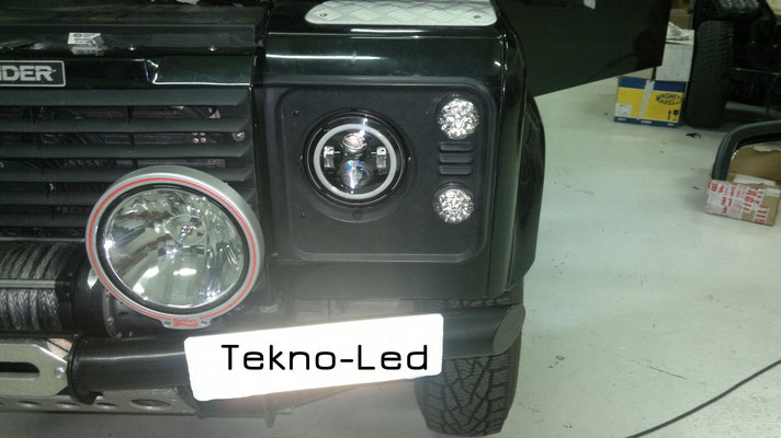 DEFENDER 90 monta Coppia Fari FULL LED Mod. TKLFAR-40-ORANGE