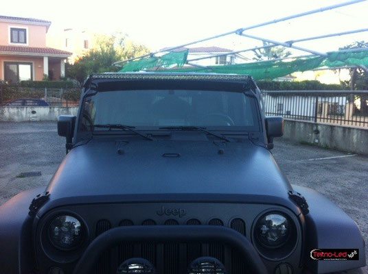 JEEP WRANGLER monta Barra LED mod. TKL SLIM 50x5 + COPPIA STAFFE STAF-BAR-1