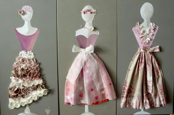 Robes roses 3x80x40