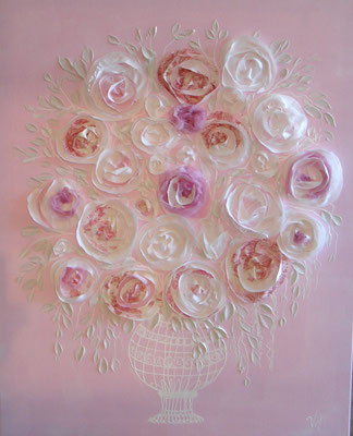 Bouquet rose leger 100x100