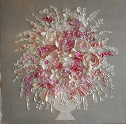 Bouquet rose sur lin 100x100
