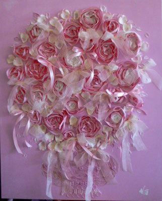 Bouquet rose 100x100