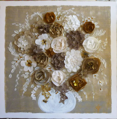 Bouquet beige 100x100