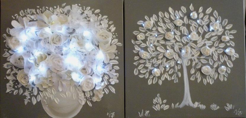 Arbre et bouquet blanc 2x50x50