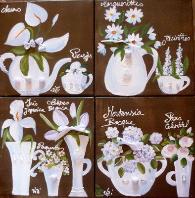 Fleurs blanches sur brun 4x30x30