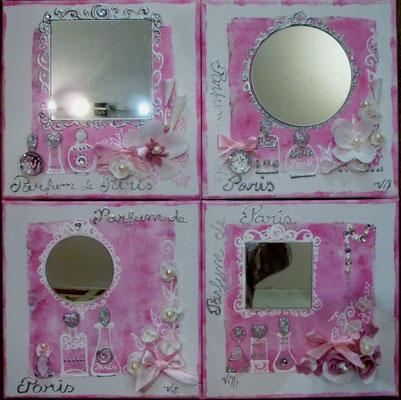 """""""Fleurs et parfums rose"""" 4x30x30"""
