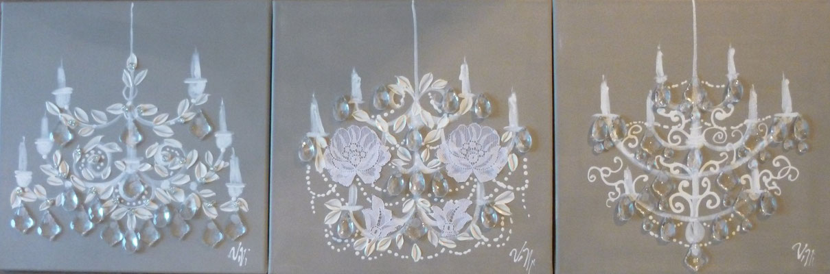 """Chandelier dentelles"" 3x40x40"