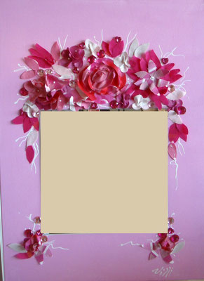 Miroir fleur rose 50x70