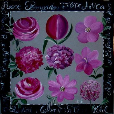 Fleurs roses 80x80