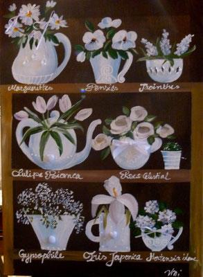 Fleurs blanches sur brun 80x100