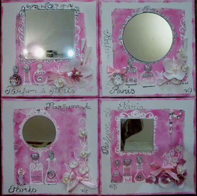 Fleurs et parfums de Paris ros 4x30x30