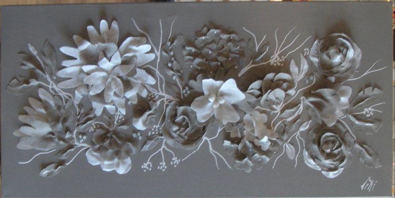 Découpage lin et blanc 100x50
