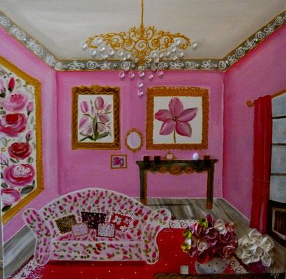 """""""Intérieur rose"""" 80x80"""